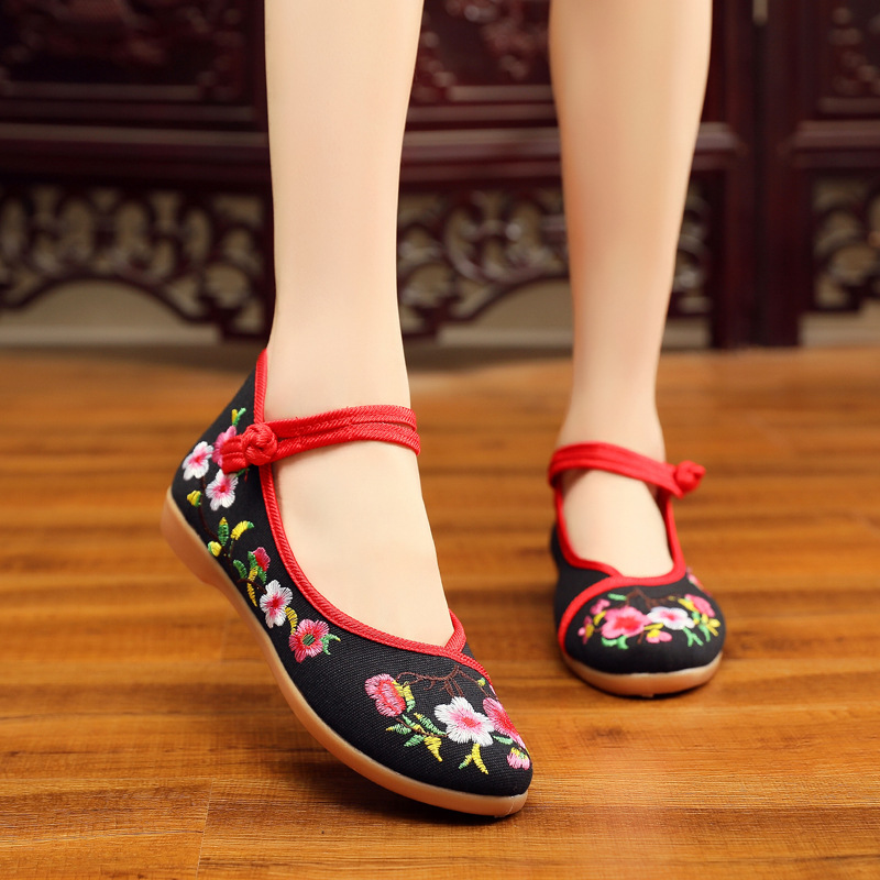 Embroidered Shoes Flats Wind-Cloth Autumn Flower New National Square Hibiscus High-Help