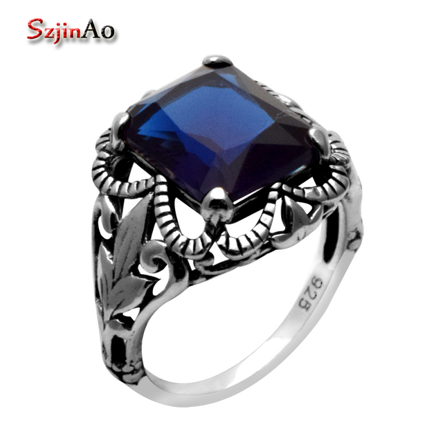 Szjinao Handmade Ring Victoria Antique Jewelry Princess Kateu0027s Wedding Ring  Blue Sapphire 925 Sterling Silver Rings