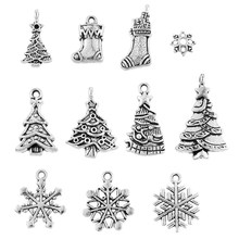 hoomall 244450pcs mixed silver tone christmas charm pendants christmas tree decorations hanging - Silver Christmas Decorations
