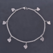 DIY Customize Stainless Steel Silver Color Romanfic Heart Pendant Women's Anklet Chains Bracelet Foot Jewelry