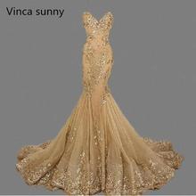 Vestido de festa lüks abiye sevgiliye robe de soiree altın Sequins Mermaid abiye uzun 2019 en çok satan