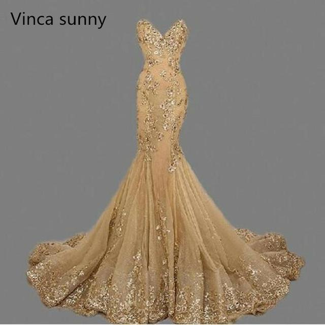 vestido de festa Luxury Evening Gowns Sweetheart robe de soiree Gold Sequins Mermaid Evening Dresses Long 2019 Formal Dress