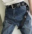 Diseño de personalidad larga anillo casual caliente cinturón de metal negro mujeres estudiantes jean lona cintura cinturones marea plata pin hebilla hombres señora