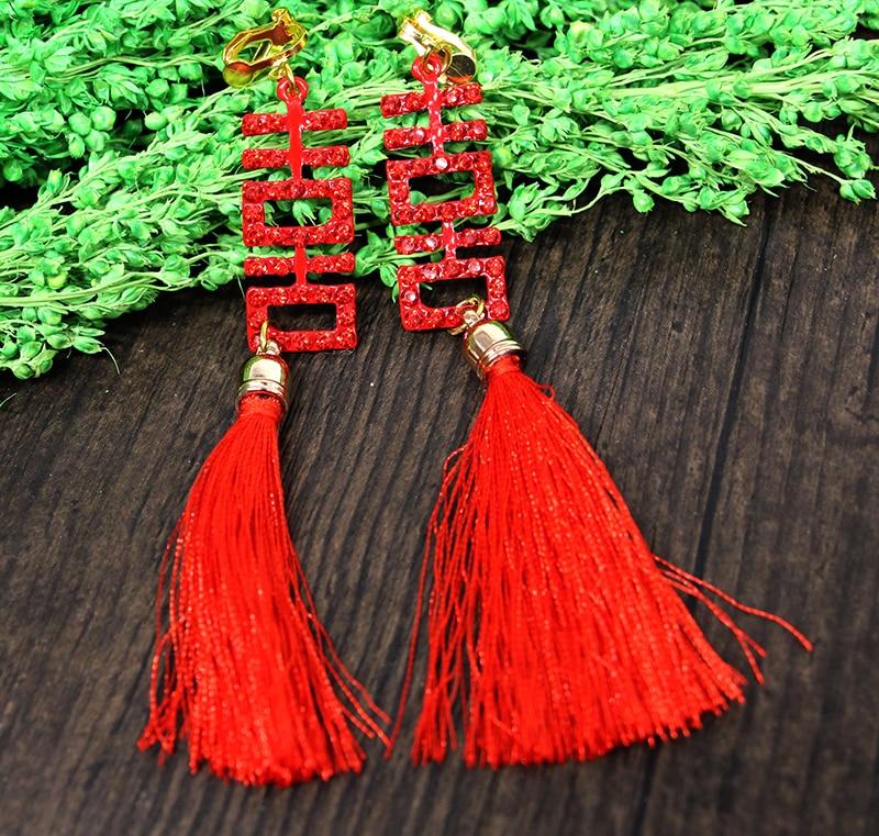 HIMSTORY Chinese Vintage Style Red Long Tassel Rhinestones Wedding Bridal Earring Wedding Party Festival Bridal Red Earrings in Drop Earrings from Jewelry Accessories