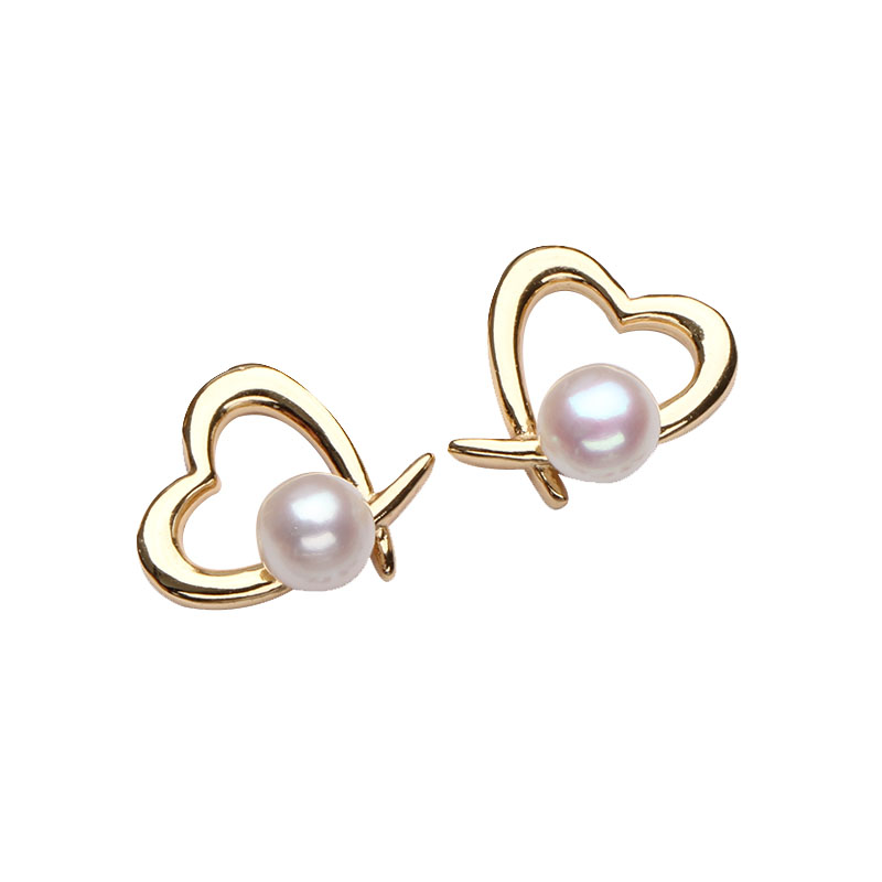 Pearl Hoop Gold Earrings 18K Gold High Polished Pearl Dangle Mothers Day Valentines Day Couples Special Gifts Hoop Earrings for Women Girls