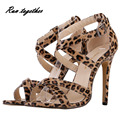 New summer high heels sandals shoes woman party wedding dress ol women pumps Leopard Serpentine fashion sexy dacing shoes