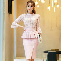 2019 Spring Two Piece Sets Flare Sleeve Top Blouse Peplum Pencil Bodycon Skirt Knee Length Suits Party Pink Sexy Dress
