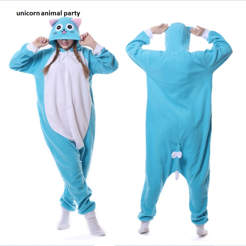 Kigurumi Cartoon Animal Blue Happy Cat Onesie Unisex Vuxen Pyjamas Cosplay Kostymer Sleepsuit Nattkläder Män kvinnor Hooded