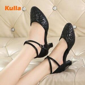 Image 3 - Latina tango sapatos de dança feminino conforto fechado dedo do pé menina moderno sapatos de dança de salão vermelho/preto/ouro sola macia sapatos de dança ao ar livre
