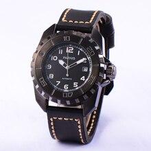 Moda Assista Men 44mm Parnis Rotating Bezel Black Dial 2836 Dos Homens Movimento Automático Relógios Cool Black Caso