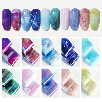 10 colors Water Marble Effect Nail Foil Paper Fantasy Rainbow Starry Sky Transfer Foil Nail Art Sticker Manicure Decorations lace black white nail foil starry sky nail art transfer sticker diy manicure nail art decoration printing wrap decals f624