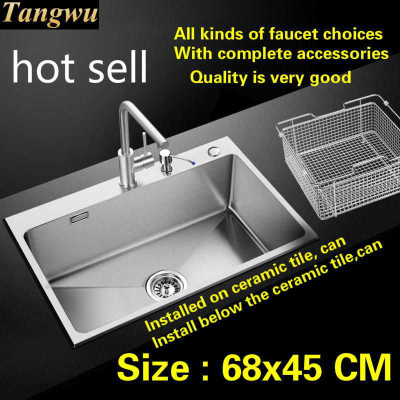 Free Shipping Apartment Kitchen Sink Food Grade 304 Stainless Steel 1 Mm Hand Made Single Slot Hot Sell 680x450 Mm