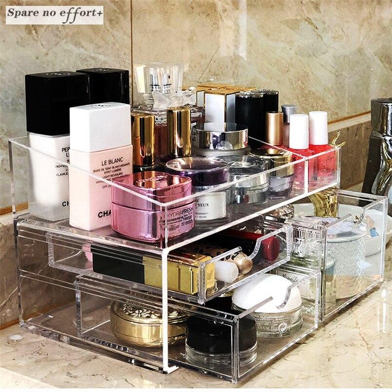 透明ジュエリー引き出しオーガナイザー化粧オーガナイザーアクリル化粧ツール収納ボックスプラスチック容器用女性カハ·マデラ  グループ上の ホーム&ガーデン からの 収納ボックス & ビン の中 1