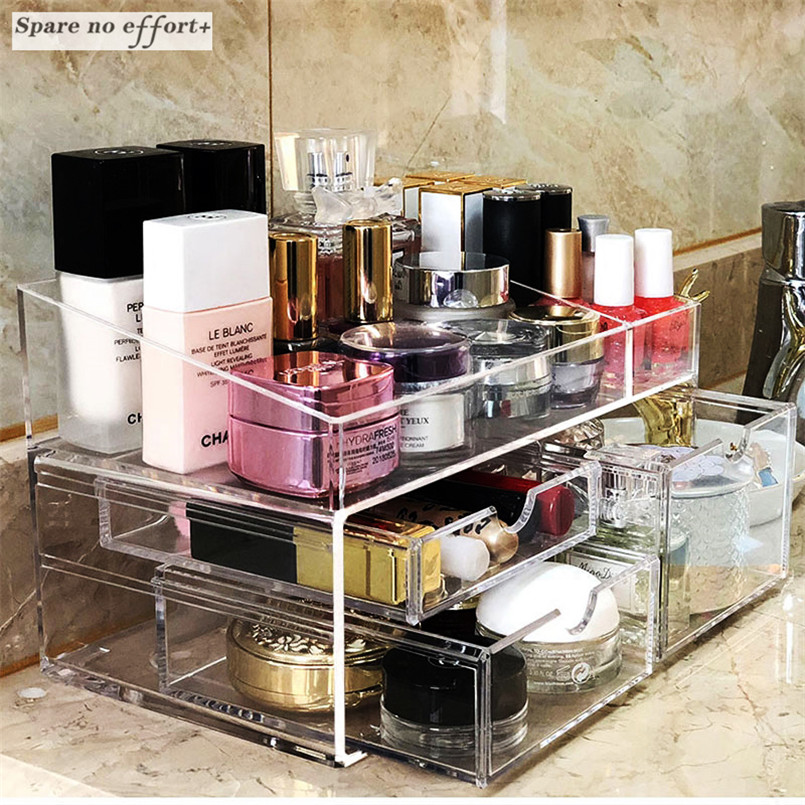Transparent Jewelry Drawer Organizer Makeup Organizer Acrylic Cosmetic Tools Storage Box ...