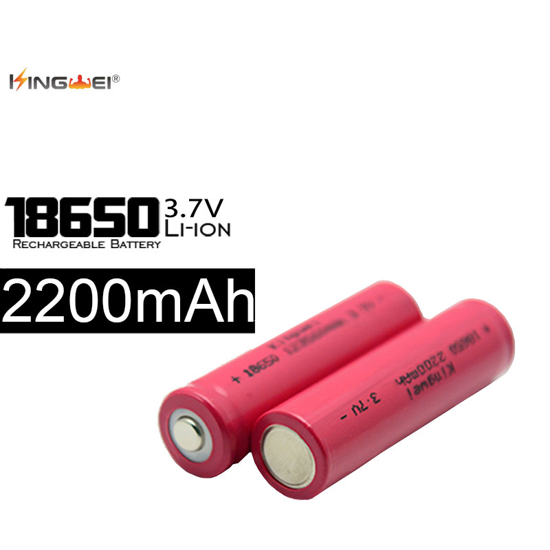 KingWei 4pcs/lot <font><b>18650</b></font> Rechargeable <font><b>Battery</b></font> 3.7V 2200mah Li-ion <font><b>Battery</b></font> For Flashlight Torch Lithium Baterias image