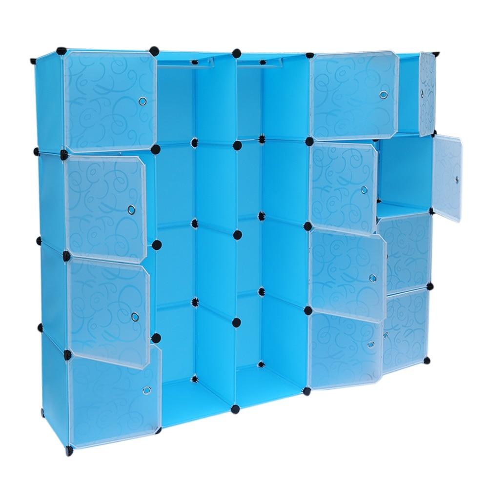 12 rejillas + 2 filas armarios Simple caja de almacenamiento de resina gabinete DIY montado Extra grande mágico niño organizador de armario guardarropa - 4