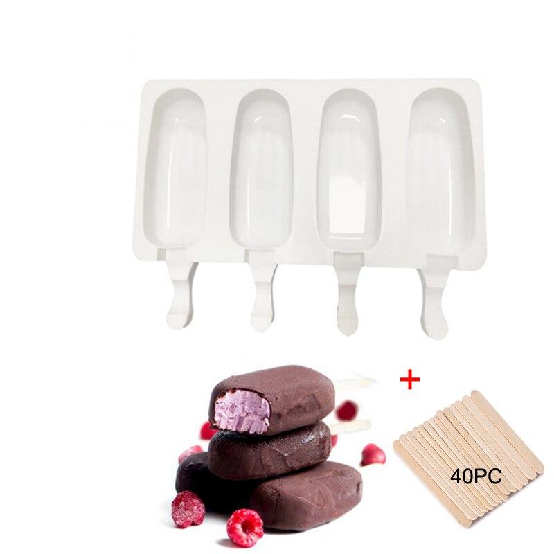 4 Cell Silicone Ghiacciato Ice Cream Muffa Succo Popsicle Maker bambini Pop Stampo Lecca Lecca Tray Cucina Strumenti + 40 Legno bastoni