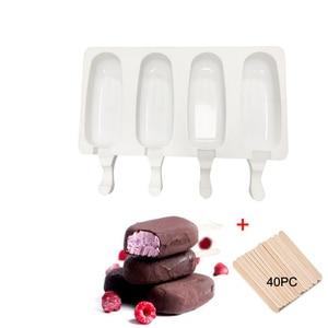 4 células de silicone congelado sorvete molde suco picolé maker crianças pop molde lolly bandeja ferramentas cozinha + 40 varas de madeira