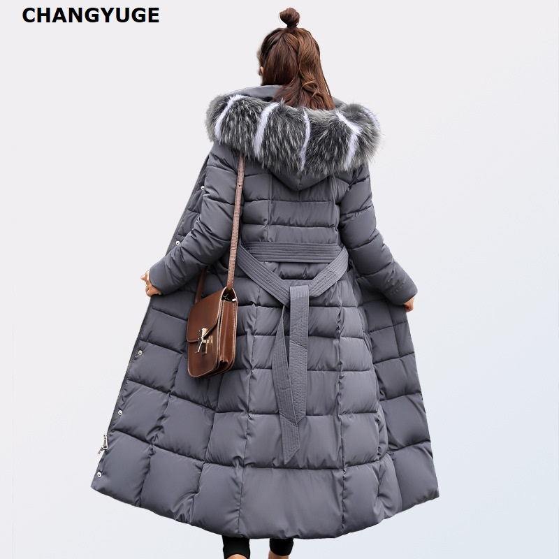 CHANGYUGE Winter Women Ultra Light   Down   Jackets Slim Hooded Extra Long Women White Duck   Down   Padded   Coats   Warm Belt   Down   Parkas