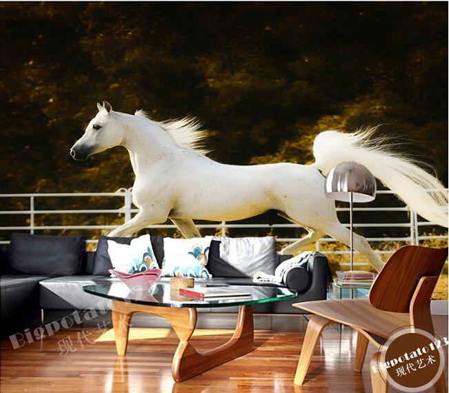 Custom 3D wallpaper, running elegant white wild horse papel de parede, living room sofa TV bedroom wall paper custom vintage floral wallpaper abstract art flower wallpaper hotel restaurant living room tv sofa wall bedroom papel de parede