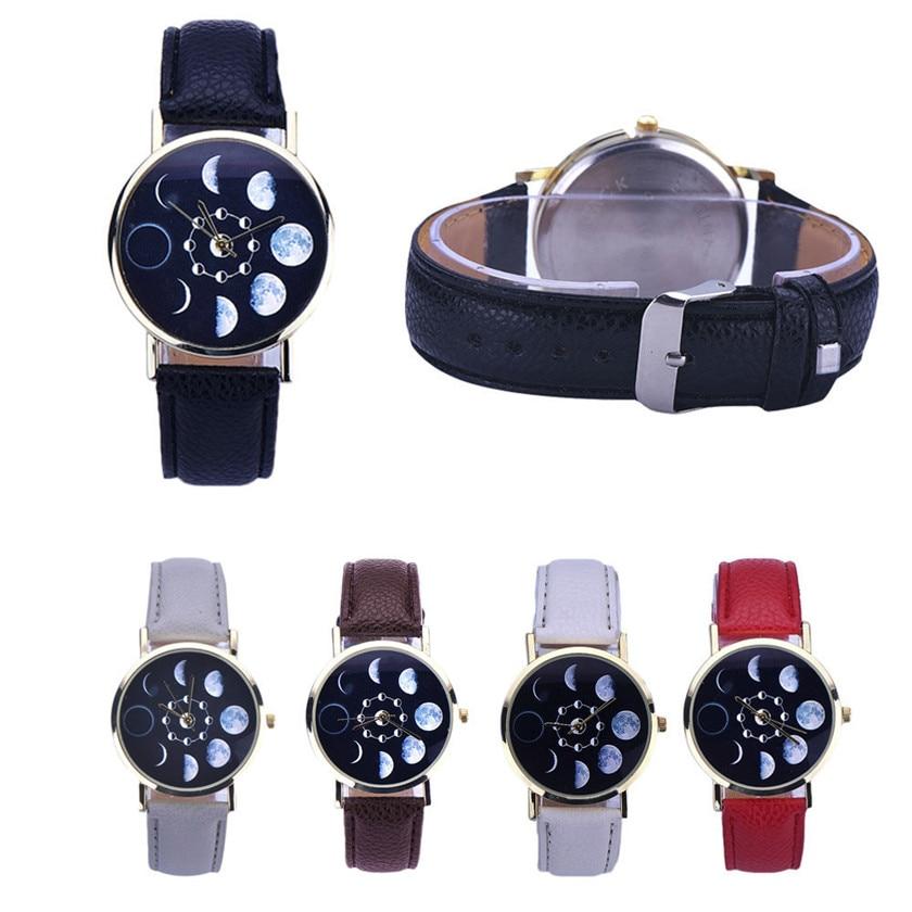 Relojes mujer 2017 HOT sellingWomen Lunar Eclipse Pattern Leather Analog Quartz Wrist Watch #0804