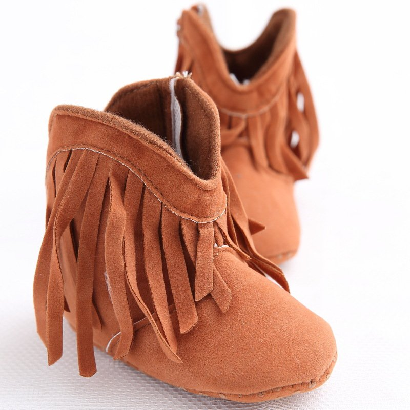 Nyfødte Baby Girl Kids Moccasin Moccs Solid Fringe Sko Spædbarn Toddler Soft Soled Anti-slip Boots Hot 0-18M
