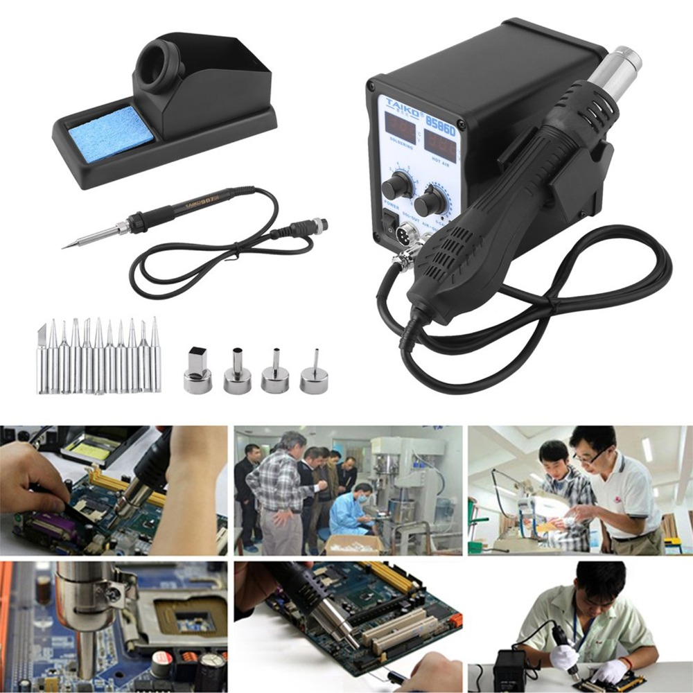 TAIKD8586D2 In 1 Temperature Welding Solder Station Heat Pencil Hot Air Soldering Iron Stand Welding Repair Tool KitTAIKD8586D2 In 1 Temperature Welding Solder Station Heat Pencil Hot Air Soldering Iron Stand Welding Repair Tool Kit
