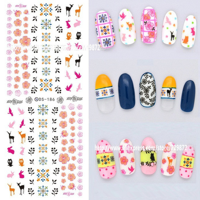 2pcslot Ds 186 Cute Animal Giraffe Nail Art Watermark Nail Stickers