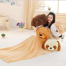 Quality cute plush dog pillow with warm hand and blanket plush cushion stuffed toy Floor price