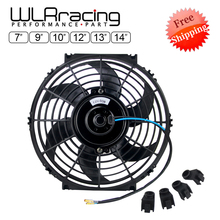 7 9 10 12 13 14 Inch Universal 12V 80W Slim Reversible Black Blade Electric Cooling Radiator Auto Fan Mounting Kit