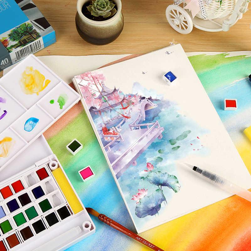 12/18/24/36/40 colores sólidos pintura al agua juego de pigmento portátil al aire libre acuarela para la escuela herramientas para pintura artística