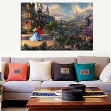 Thomas Kinkade Sleeping Beauty Dancing Canvas Painting Prints Bedroom Home Decoration Modern Wall Art Posters Artwork