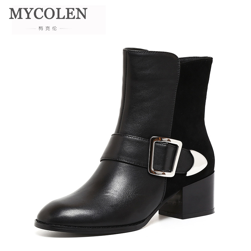 MYCOLEN 2018 New Heels Shoes Black Ankle Boots Real Leather Woman Winter Boots Superstar Chelsea Boot Zipper Female FootwearMYCOLEN 2018 New Heels Shoes Black Ankle Boots Real Leather Woman Winter Boots Superstar Chelsea Boot Zipper Female Footwear