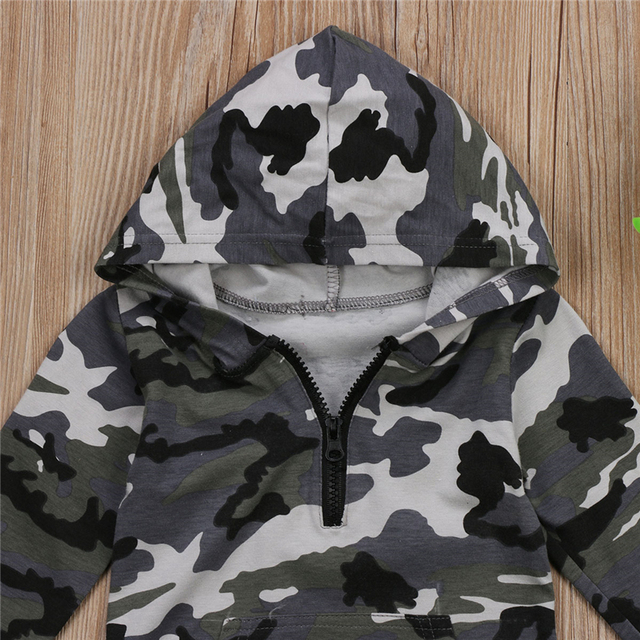 Infant Baby Boy Hooded Camouflage Romper Newborn Baby Camo Long Sleeve Romper 2017 New Warm Autumn Jumpsuit Outfit Boys Clothing