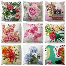 45x45cm Colorful Flower Cushion Cover Cotton Linen Decorative Pillows Decoration Pillowcase For Car Home