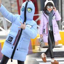 2016 New Winter Coats for Teenage Girls glasses Hooded Long Girls Winter Jackets super men Thicken Children Outwear Clothing