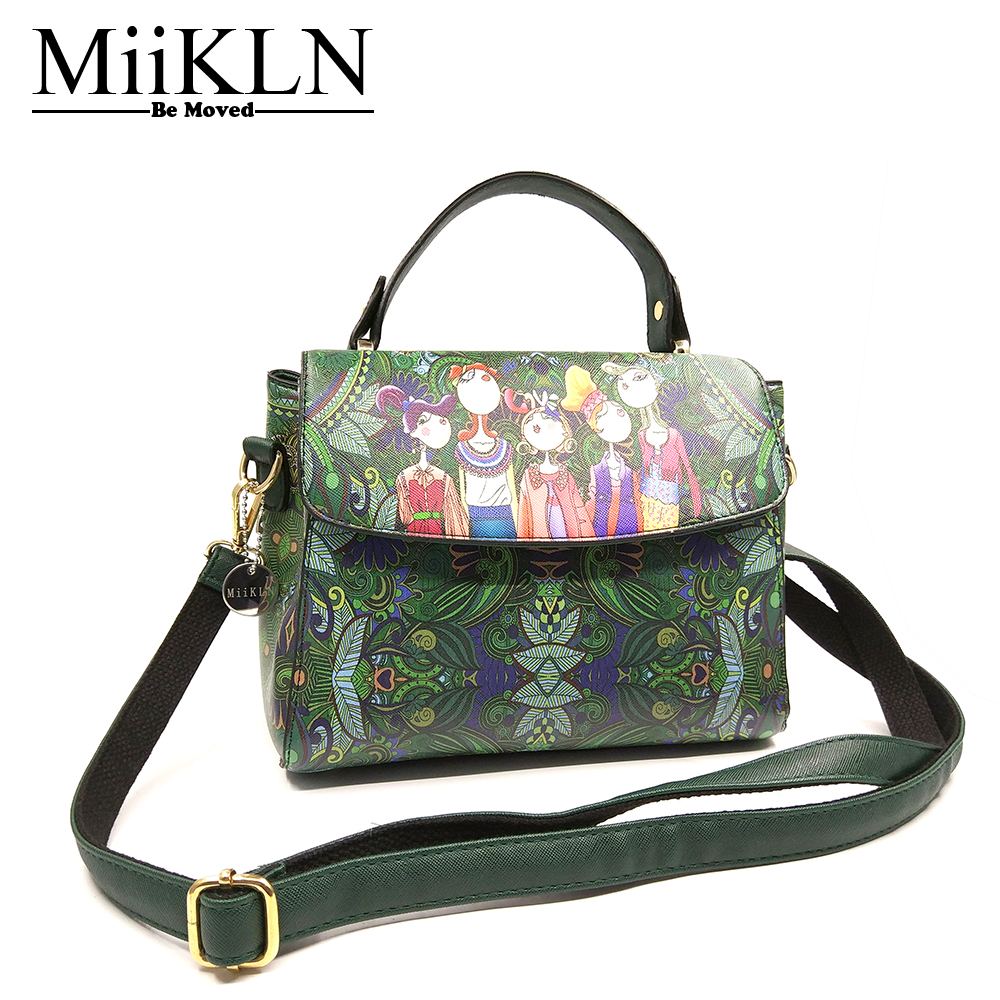 MiiKLN SL Series Women Handbags Flowers 2017 PU Soft Leather Luxury Handbags Women Bags Designer Forest Panelled Totes Shoulder