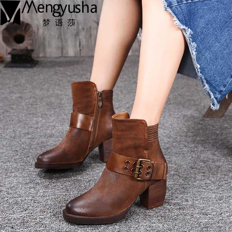 Retro Women Ankle Boots Fashion Pointed Toe Thick Heel Women Boots High Heel Genuine Leather Ladies Boots Vintage Martin Boots xiangban handmade genuine leather women boots high heel ankle boots pointed toe vintage shoes red coffee 6208k11