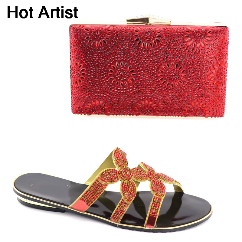 Hot Artist New Arrival Fashion Woman Rhinestone Shoes And Bag Set Italian Style Slipper Shoes And Bag Set For Party YK-012