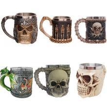 Neuheit harz edelstahl skeleton kaffee bierkrug schädel kopf becher kopf menschliche knochen becher 350 ML