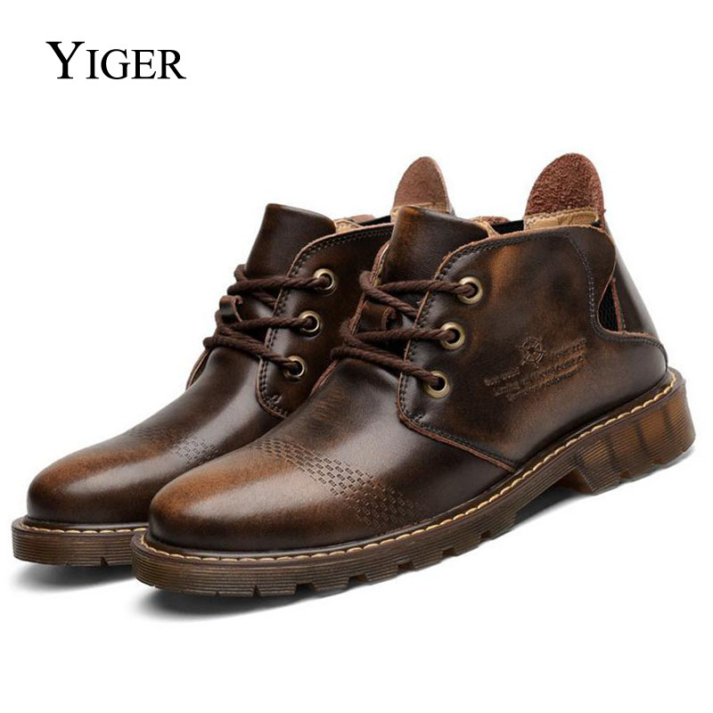 YIGER NEW Men's Boots Casual Martin Genuine Leather Boots Brown/Red Ankle Lace-up With Fur Autumn/Winter Warm Men Shoes 0018