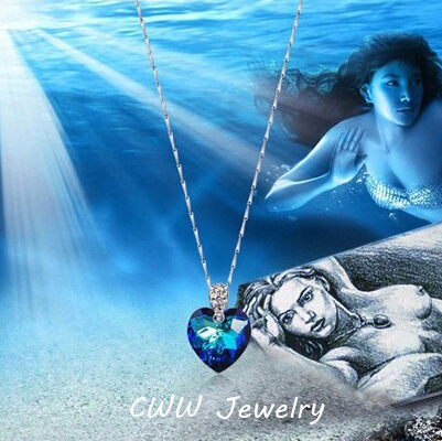 CWWZircons Classic Heart Shape Big Dark Blue Austrian Crystal 925 Sterling Silver Jewelry Pendant Necklace For Women Gift CP036