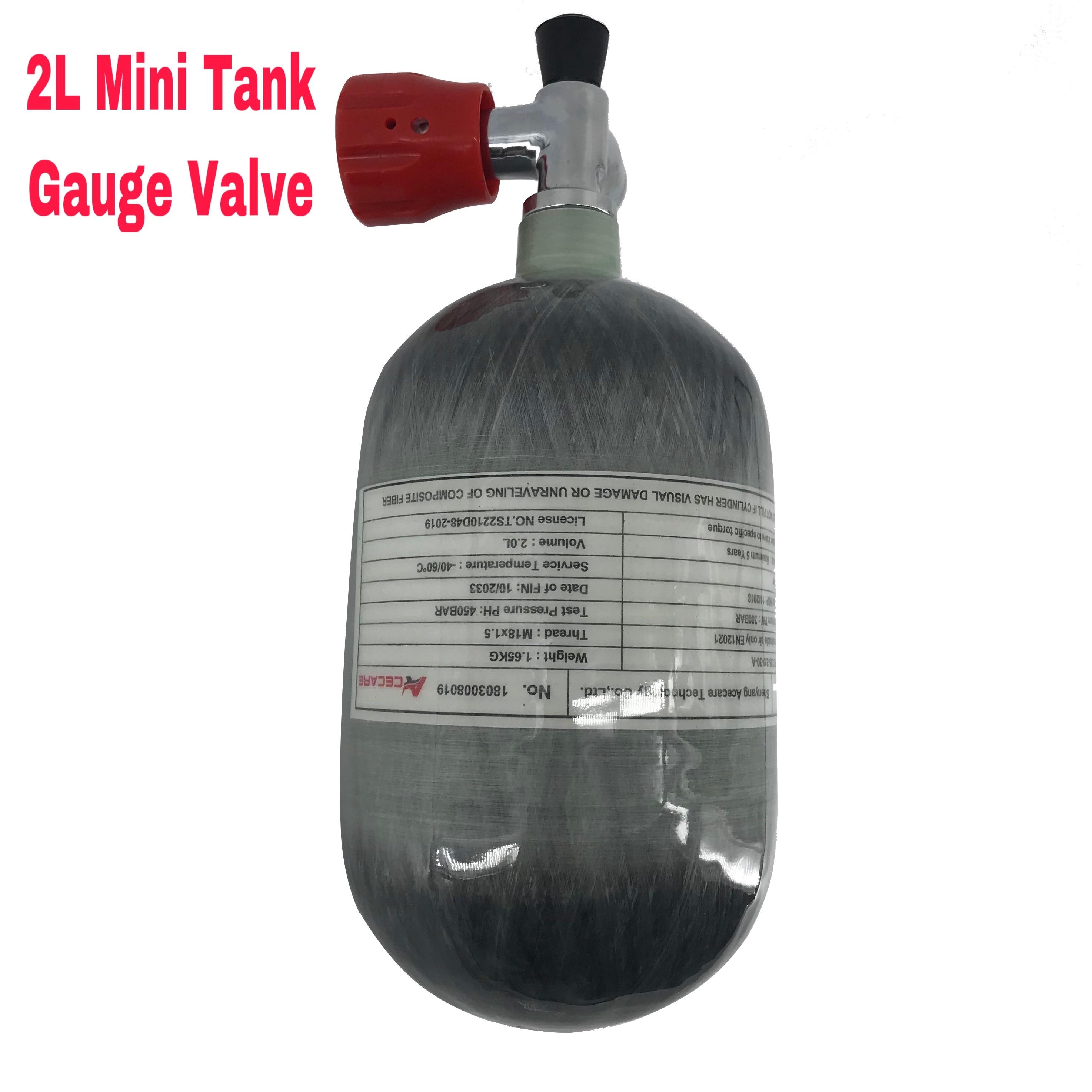 AC52011 Acecare 2L Air Rifle Paintball/Pcp Air Tank Mini Scuba Pcp Carbon Fiber Gas Cylinder Diving Tank 4500psi Gauge Pcp Valve