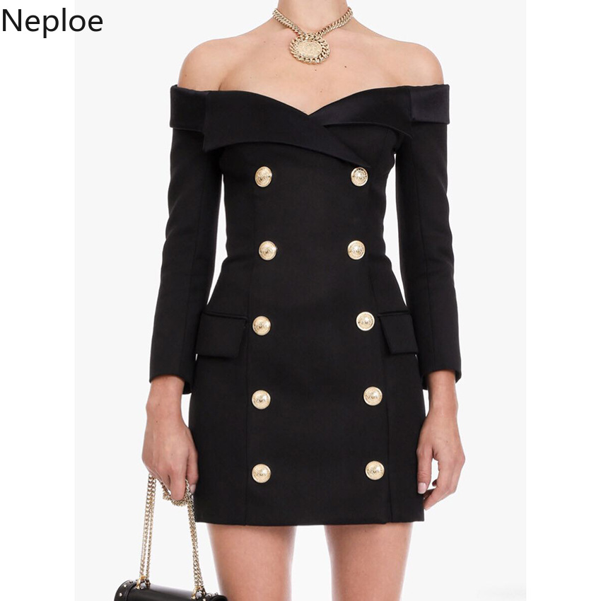 Nepole Cerniera Abbottonatura Slash Neck Grazia Vestito Doppio Petto Button Cool Girl Vestido 2020 Primavera Estate Tasca Modis Jupe 42729
