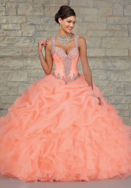 8aa7ee25c98 Coral Quinceanera Dresses Ball Gowns Vestido De 15 Anos Pleat Organza15  Birthday Dress With Luxury Beading
