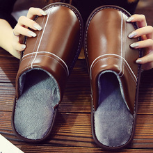 Leather slippers women warm winter shoes plus size 35-46 comforthable indoor slippers women short plush home slippers lovers short plush winter warm indoor slippers casual men