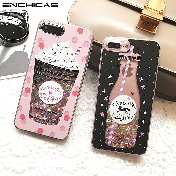 ENCHICAS Glitter Liquid Bumper Case Floating Luxury Bling Sparkle Quicksand Pretty Icecream Cover for iPhone X 6 6S 7 8 Plus