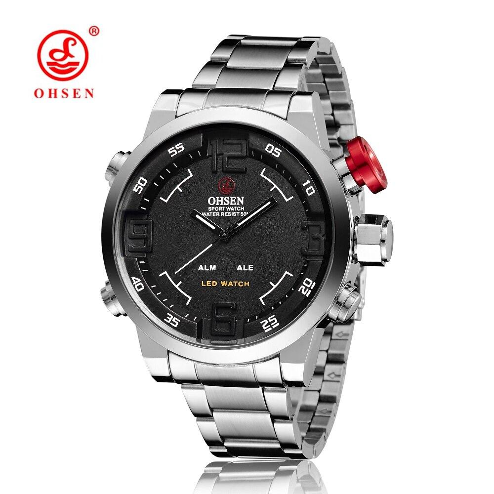 Prix pour Hommes montres ohsen montre de luxe marque hommes montres en acier plein montres alarme led montre à quartz étanche relogio masculino