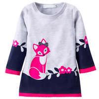 Зимнее теплое платье для девочек; модное ТРАПЕЦИЕВИДНОЕ платье-свитер с рисунком лисы; трикотажное платье с длинными рукавами и круглым выр...