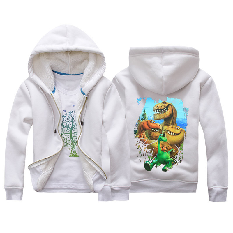 Jiuhehall Cartoon Dinosaur Berber Fleece Coats For Kids 2016 New Fashion Children Parkas 6 Colors Hooded Zipper Jackets JCM018 (3)